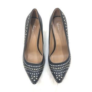 Lane Bryant Black Pumps with Silver and Gold Studs